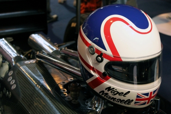 Nigell Mansell's Lotus and Race Helmet.